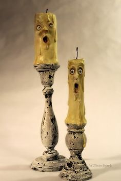 Sculpted Halloween candles! I love their expressions.