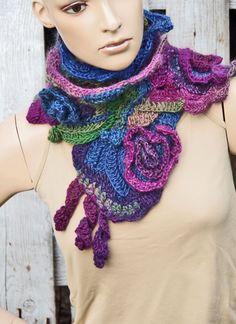 Crochet Scarf Unique Capelet Purple Blue Green Neck by Degra2