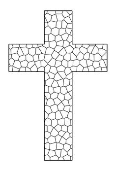 Stained Glass Cross Printable Coloring Sheet  Sunday School