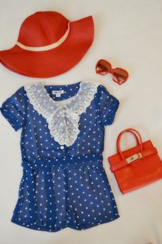Outfit of the Day; Blue polka Dot romper DKNY, Brim Summer Hat, Fashionable Sunnies, and Mini B Purse. Everything can be purchased at www.mlanaboutique.com #fashion #fashionkids #fashionkidz #fashionboutique #postmyfashionkids #littlefashionista #littletrendsetters #littlefashionistascloset #mini_fashionistas #ootd #kidsfashion #kidzfashion #kidsboutique #kidsoutfitters  www.mlanaboutique.com