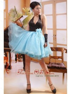 Fabulous Black and Blue Halter Deep V-Neck Organza and Satin Short Prom Gown Halter Top Prom Dresses, Junior Prom Dresses, Unique Prom Dresses, Prom Dresses For Sale, Prom Dresses Online, Prom Party Dresses, Homecoming Dresses, Dresses 2013, Prom Gowns