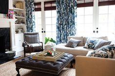 Living room. Blue print curtains.