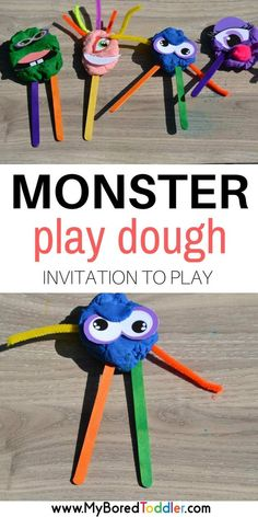 Monster Play Dough Invitation to play. This fun play dough activity is a great sensory activity. It makes regular play doh much more fun! Playgroup Activities, Monster Activities, Playdough Activities, Toddler Activities, Halloween Activities For Preschoolers, Monster Games For Kids, Toddler Learning, Indoor Activities, Preschool Ideas