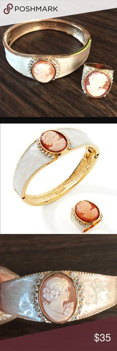 NEW Amedeo Cameo Hinge Bangle Bracelet & Ring SET Perfect condition! New. The ring is a size 6. Jewelry Bracelets