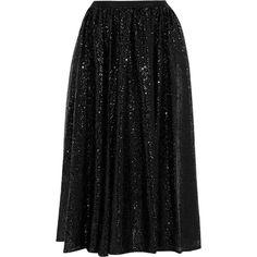 MICHAEL Michael Kors Sequined tulle midi skirt ($82) ❤ liked on Polyvore featuring skirts, black, tulle midi skirt, sequin tulle skirt, knee length tulle skirt, sequin midi skirt and mid calf skirts