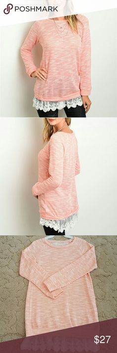 Long sleeve top with scalloped lace trim Beautiful peach color with ivory colored lace , cotton spandex blend, made in the U.S.A.  aproximate measurements are L- bust 20 inches across and 32 inches long  M- bust 18 inches across and 31 inches long. S-   bust 17 inches across and 29 inches long . Length measurements include the lace. Boutique Tops