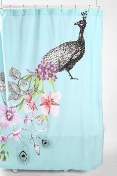 Peacock shower curtain $49. So cute.