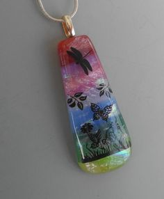 New to GlassCat on Etsy: Dragonfly Pendant Scenic Dichroic Pendant  Landscape Pendant Nature Jewelry Rainbow Glass Pendant  Fused Glass Jewelry (22.00 USD)