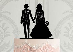 2 brides wedding cake topper, Lesbian couple silhouette cake decoration, Bride in a suit cake decor Beard Silhouette, Silhouette Cake, Couple Silhouette, Personalized Cake Toppers, Custom Cake Toppers, Custom Cakes, Lesbian Wedding, Wedding Bride, Our Wedding