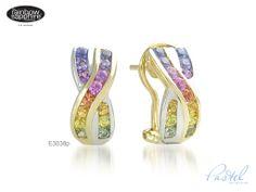 Pastel rainbow sapphire earrings