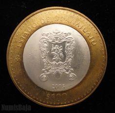 100 pesos bimetalica centro de plata primera face estado de Guanajuato México 2005