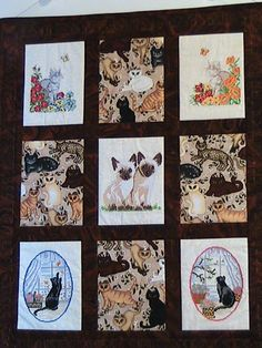 Embroidered Cross Stitch Quilted Cat Wall by DeanasQuiltsandMore, $85.00