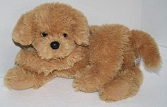 "Ty Lab Puppy Dog Plush 2009 Brown Tan Laying soft toy 11"" stuffed bean feet #Ty"