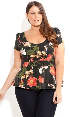 City Chic - FLORAL PEPLUM TOP - Women's plus size fashion