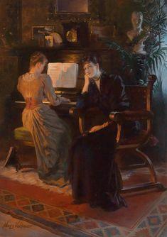 ♪ The Musical Arts ♪ music musician paintings - Hans Volkmer (b.1870) | A Beautiful Melody (1954x2773)