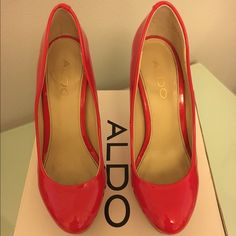 Aldo Red Patent Leather Platform Heels Red patent leather platform 4 inch heels. Perfect condition only worn once. All original packaging and includes replacement heel caps. ALDO Shoes Heels