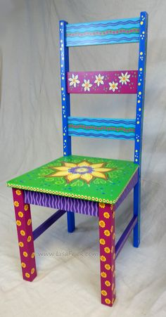 Custom painted floral chair- this one is sold, but I am available for custom orders!