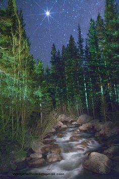Bishop Creek with Jupiter by Wally Pacholka