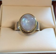 Vintage 14K Gold and Silver 4ct Moonstone by OldTimeSparkle