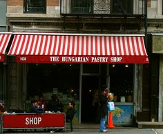 The Hungarian Pastry Shop, Upper Westside, NYC, near Columbia Univ. It also used to be adjunct to The Green Tree, a Hungarian restaurant with great food! Long gone.
