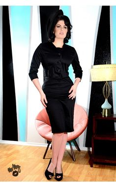 The Amelia Dress and Matching Jacket in Black from Pinup Couture | Pinup Girl Clothing