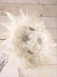 Wedding Bouquet / Bridal Bouquet with crystal brooches by LakaLuka