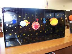 Solar System Projects - cardboard box painted.