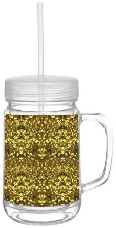 Gold Glitter Double Wall Mason Tumbler