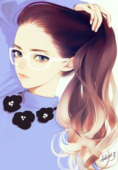 Anime picture with original dahlia long hair single tall image looking at viewer brown hair simple background white signed nail polish grey eyes wavy hair adjusting hair girl glasses Manga Anime, Manga Kawaii, Art Manga, Manga Girl, Anime Girls, Character Illustration, Illustration Art, Anime Kunst, Beautiful Anime Girl