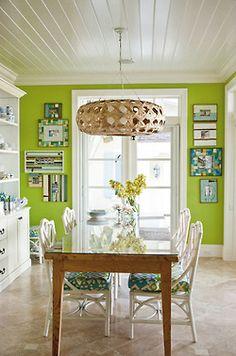 bright green wall & wicker pendant light..nice