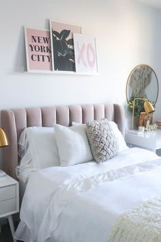 Blush Headboard | Neutral and Blush Bedroom | Pink Bedroom | Gold and Marble Bedroom | Art Wall | Art Wall Styling | Art Ledge