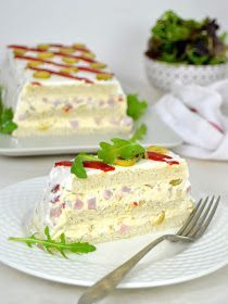 Cake with carrot and ham - Clean Eating Snacks Sandwich Cake, Tea Sandwiches, Appetizer Recipes, Appetizers, Sliced Ham, Salty Cake, Drip Cakes, Savoury Cake, Clean Eating Snacks