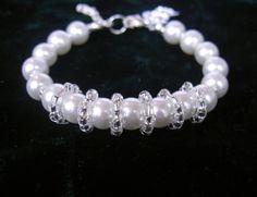 Initial Pearl Bracelet Bridesmaid Pearl Bracelet Pearl by Umis, $14.50