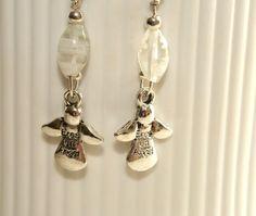 Angel Earrings Dangle Earrings Millefiori Glass Silver Earrings Handmade by DeMor Jewels #Christmasgifts #style