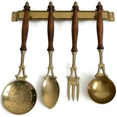 Vintage Wood and Brass Kitchen Utensils Hanging Brass Rack French... (10.655 HUF) ❤ liked on Polyvore featuring home, kitchen & dining, kitchen gadgets & tools, mounting rack, brass spoon, brass utensils, polish rack and brass ladle
