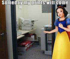 This depiction of Snow White in an office. 24 Disney Puns That Will Never Not Be Funny Disney Puns, Disney Pixar, Funny Disney, Disney Humor, Disney Love, Disney Magic, Haha, Best Puns, Puns Jokes