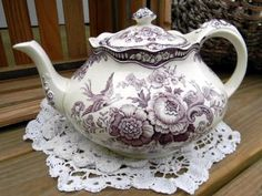 Crown Ducal Bristol Mulberry Transferware Teapot Tea Pot Made in England