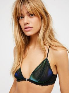 Midnight Hour Triangle Bra | Sexy, sheer lace underwire racerback with comfortable lined mesh cups and lovely scalloped trim. Stretchy fit with slim adjustable straps. Clasp closure between cups.