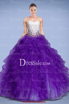 Magnificent Two-tone Quineceanera Gown with Crystals and Tiered Ruffles