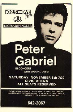Concert Poster Peter Gabriel at Civic Arena 1995 Framed or Un-Framed Peter Gabriel, Tour Posters, Band Posters, Nostalgia 70s, Progressive Rock, Rock Concert, Retro Art, Concert Posters, Poster Size Prints