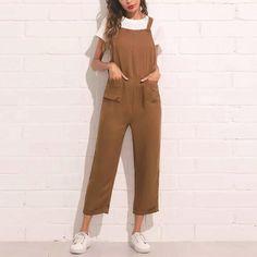 Shop Pocket Front Rolled Up Hem Pinafore Jumpsuit online. SHEIN offers Pocket Front Rolled Up Hem Pinafore Jumpsuit & more to fit your fashionable needs. Jumpsuit Outfit, Casual Jumpsuit, Halter Jumpsuit, Jumpsuit Dress, Rompers Women, Jumpsuits For Women, Brown Jumpsuits, Trendy Outfits, Fashion Outfits