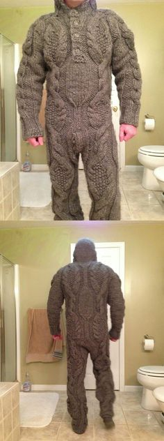 Full body knitted suit for those harsh winter mornings  :D This is hilarious
