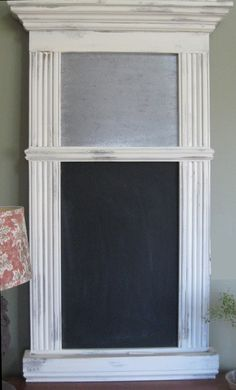 Shabby Chalkboard and magnetic message center $185