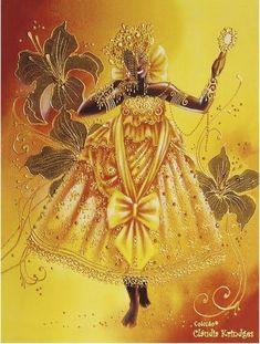 Oshun by Claudia Krindges African American Art, African Art, Oshun Goddess, Yoruba Orishas, African Mythology, Yoruba Religion, Sacred Art, Gods And Goddesses, Afro Art