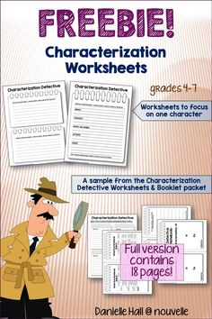 #FreebiesLoveFeedback Students are hot on the trail for examples of direct and indirect characterization with these worksheets. This is a sample from my Characterization Detective Worksheets and Booklet Packet. (4-7)