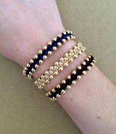 Bracelet réglable en or plaqué perles Macrame Bracelet