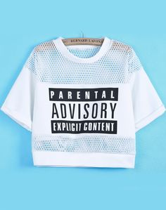 Online shopping for White Contrast Hollow Mesh Yoke Letters Print T-Shirts from a great selection of women's fashion clothing & more at MakeMeChic.COM.
