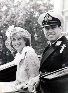 June 13, 1981: Prince Andrew & Lady Diana Spencer riding in an open carriage for the Trooping the Colour ceremony.