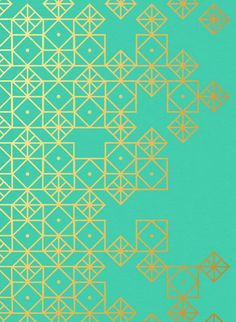 Turquoise and gold, art print by Cat Coquillette. I want to paint the walls of my future home with geometric patterns and designs. Geometric Patterns, Graphic Patterns, Geometric Art, Geometric Designs, Textures Patterns, Fabric Patterns, Color Patterns, Modern Patterns, Geometric Fabric