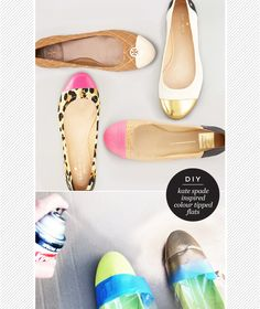 DIY Kate Spade inspired colour tipped flats